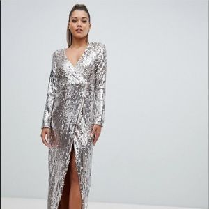 Club L embellished sequin wrap front maxi dress